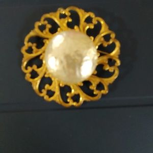 Miriam Haskell Faux Large Pearl Brooch
